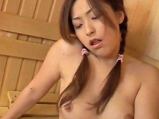 Naughty Asian Masturbates With A Huge Dildo