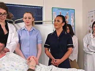 Doctor Babes Dominate Over Naked Guy