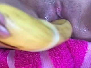 Sexy Teen Fucks Her Tight Pussy With A Banana And Squirts
