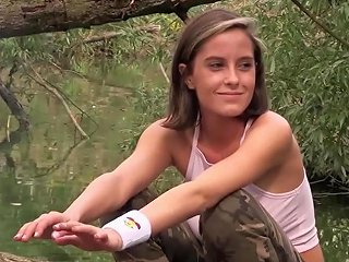 Hot Teen With Big Tits Fucks 2 Guys On Her Trip Outdoors